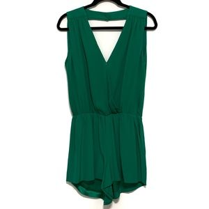 Parker North Surplice Green Silk Romper Size M